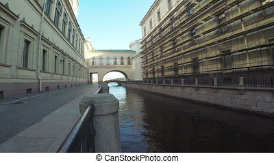 Canal and bridge near Hermitage - RUSSIA, SAINT PETERSBURG,...