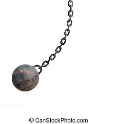 3d rendering wrecking ball - 3d rendering hanging rusty...