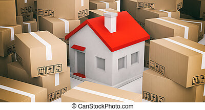 3d rendering house on moving boxes - 3d rendering house on...