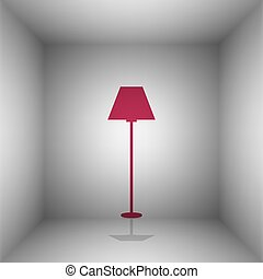 Lamp simple sign. Bordo icon with shadow in the room.
