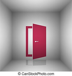 Door sign illustration. Bordo icon with shadow in the room.