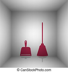 Dustpan vector sign. Scoop for cleaning garbage housework dustpan equipment. Bordo icon with shadow in the room.