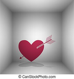Arrow heart sign. Bordo icon with shadow in the room.
