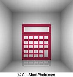 Calculator simple sign. Bordo icon with shadow in the room.