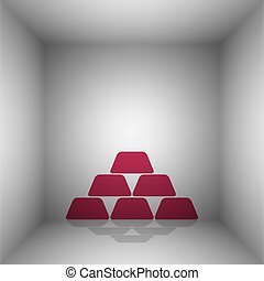 Gold simple sign. Bordo icon with shadow in the room.