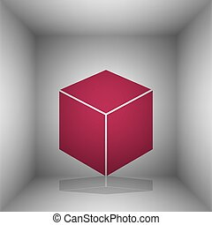 Cube sign illustration. Bordo icon with shadow in the room.