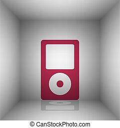 Portable music device. Bordo icon with shadow in the room.