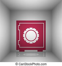 Safe sign illustration. Bordo icon with shadow in the room.