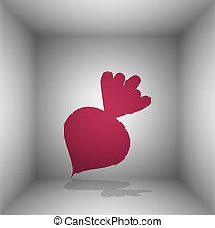 Beet simple sign. Bordo icon with shadow in the room.