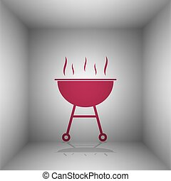 Barbecue simple sign. Bordo icon with shadow in the room.