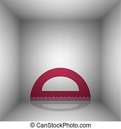 Ruler sign illustration. Bordo icon with shadow in the room.