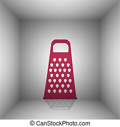 Cheese grater sign. Bordo icon with shadow in the room.