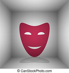 Comedy theatrical masks. Bordo icon with shadow in the room.