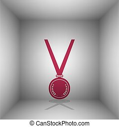 Medal simple sign. Bordo icon with shadow in the room.