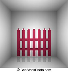 Fence simple sign. Bordo icon with shadow in the room.