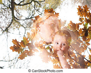 Concept of fall crop - Double exposure. Concept of fall crop...