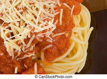 Spaghetti Bolognaise - Close up of a plate of delicious...