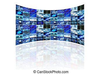 Multi screen on white - Multi screens showing various...