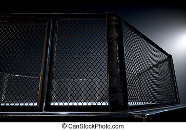 MMA Cage Night - A 3D render of an MMA fight cage arena...