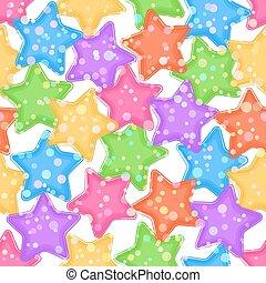 Seamless Pattern, Colorful Stars