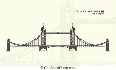 the tower bridge in London - isolated figure of the tower...