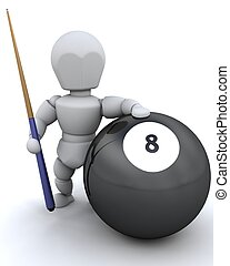 man with 8 ball and pool cue - 3D render of a man with 8...