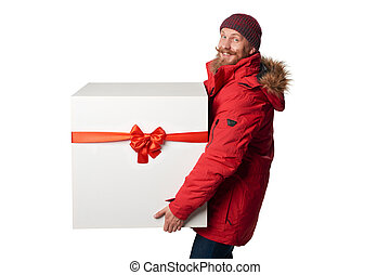 Christmas, x-mas, winter gift concept. Man wearing red...