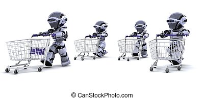 robots running with shopping carts - 3D render of robots...