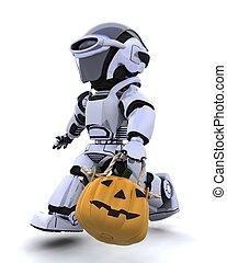 robot with jack o lantern pumpkin - 3D render of a robot...