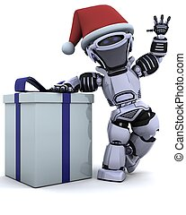 robot with christmas gift box with bow - 3D render of a...