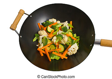 Fresh vegetables in wok - Fresh sliced vegetables in wok...