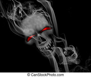 Smoking skull - Halloween background with smoking skull with...