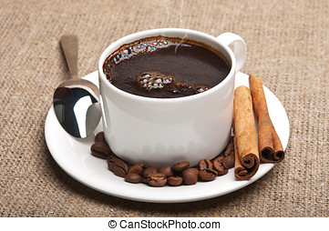 hot cup coffee on background