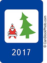 New year greeting card stylised as a road sign
