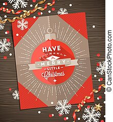 Christmas greeting card, decoration and paper snowflakes on a wooden surface - vector illustration