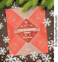 Christmas greeting card, paper snowflakes and fir tree branches on a wooden surface - vector illustration