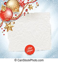 Paper banner for holidays greeting message and Christmas decoration on a snow background - vector illustration