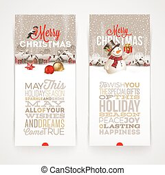 Christmas banners with type design - vector illustration...