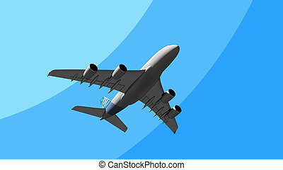 The worlds biggest airliner flying in the sky cartoon 3D...