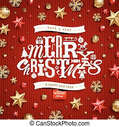 Christmas vector illustration - holidays decorations and type design on a knitted red background