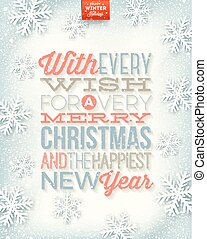 Vector Christmas illustration - holidays type design on a winter snow background