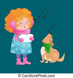 girl and dog singing christmas songs and jingle bells music on winter holiday fun vector illustration