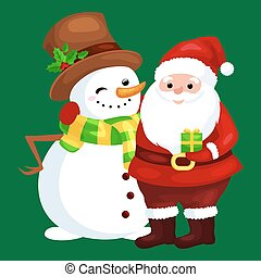 Merry Christmas and Happy New Year!Friends Santa Claus in hat and snowman in scarf celebrate xmas