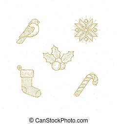 Set, goud, symbool, meldingsbord,  Vector, schitteren, Kerstmis, pictogram