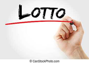 Hand writing Lotto with marker, concept background