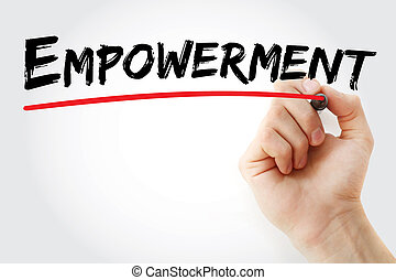 Hand writing Empowerment with marker, concept background