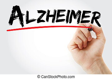 Hand writing Alzheimer with marker