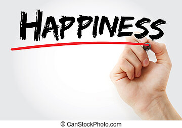 Hand writing HAPPINESS with marker, concept background