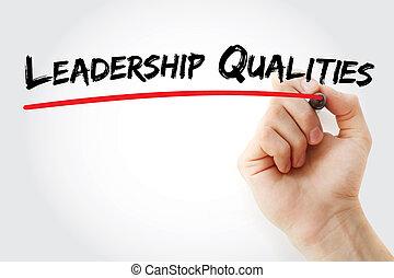 marcador, liderazgo, mano,  qualities, escritura