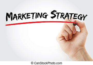 Hand writing marketing strategy with marker, concept...